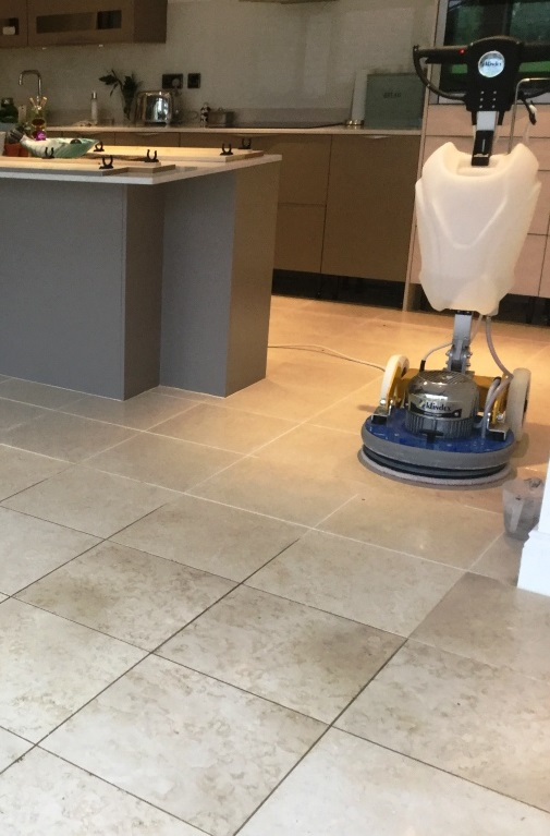 Polished Limestone Floor During Cleaning