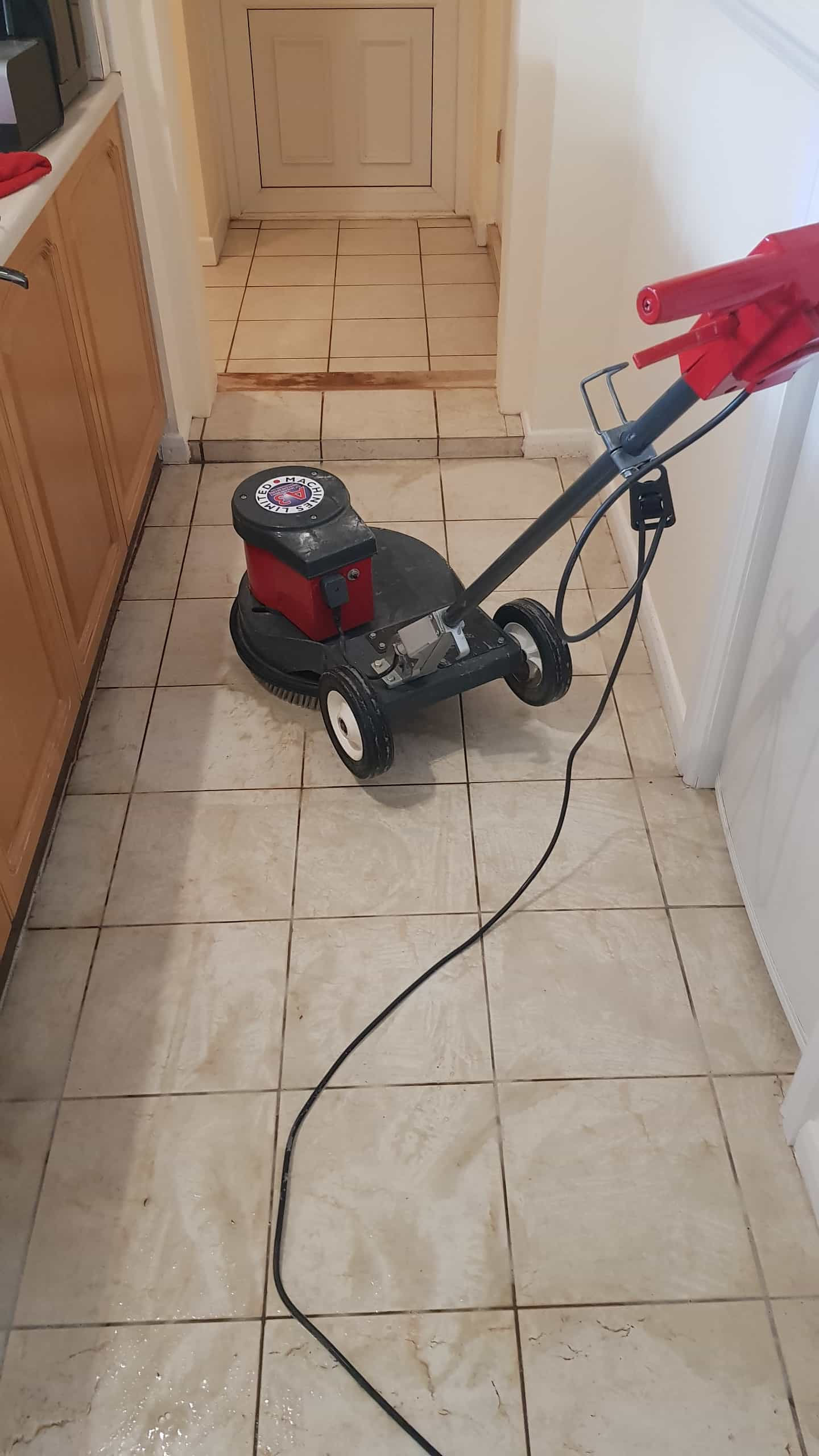 Textured Ceramic Tile During Cleaning